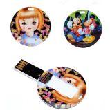 Подгонянный USB вспышки карточки круглой формы пластичный с логосом полного цвета