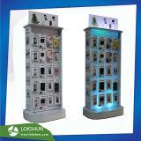 Haltbarer Drehacryl 2-Sided LED-Bildschirmanzeige-Zahnstangen-hölzerner Ausstellungsstand mit Haken für iPhone Zubehör