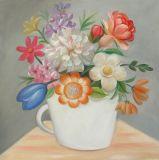 Het populaire Met de hand gemaakte Olieverfschilderij van Bloemen op Canvas