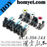 Boa qualidade de áudio&Conectores RCA de vídeo RCA-304A 3furos para montagem de PCB para tomada RCA