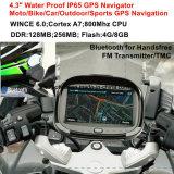 """4.3 privé"""" voiture camion étanche IP65 Marine Navigation GPS avec Wince 6.0 double 800 MHz CPU, transmetteur FM, un casque Bluetooth, appareil de localisation GPS Navigator"""