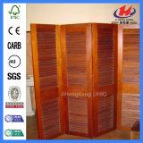 Cortinas contínuas deslizantes Louvered da porta dos obturadores internos dentro da porta de madeira de vidro