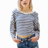As mulheres as mais atrasadas do projeto que vestem a colheita listrada Backless Hoodie do algodão