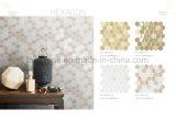 Hexagonal, beige y gris Interior Mezcla de vidrio mosaico decorativo