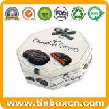 暗いチョコレートクッキーのための八角形の錫の金属の食糧ボックス