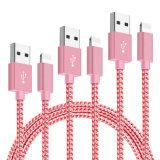 Нейлоновые экранирующая оплетка кабеля 8 контактный USB-кабель зарядного устройства для iPhone