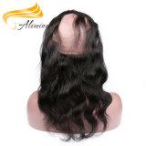 Fermeture de cheveu d'avant de lacet de vente en gros de cheveu de Remy d'Indien de 100%