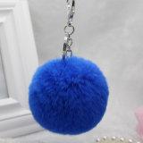 袋のアクセサリのポンポンの魅力のためのウサギの毛皮の球Keychain