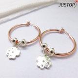 Pendiente cristalino plateado oro de moda del círculo de la flor del trébol de la joyería de Rose de dos mujeres del tono