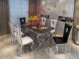 Современная столовая мебель мраморным верхней части ноги из нержавеющей стали обеденный стол