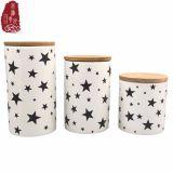 POT all'ingrosso dell'alimento del vaso del tè del vaso della caramella della famiglia 3PCS/Set con la protezione di bambù