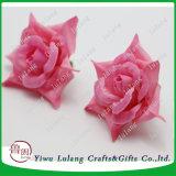 Comercio al por mayor rosa de seda artificial de cabeza de la flor rosa jefe