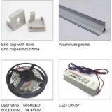 Manica di alluminio di angolo LED di 45 gradi, Manica dell'alluminio dell'espulsione del LED