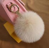 Fabuleux de fourrure de renard Pompom Ball Fuzzy Poignée de commande mobile de la fourrure les trousseaux