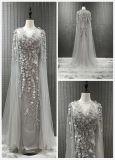 Wulstiges Abend-Kleid mit Schal-Gold/Grau