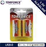 Bateria 1.5V ultra alcalina livre da fábrica de Mercury&Cadmium China (tamanho de LR20/D)