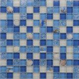 10X10 blauw en Wit met Shell de Tegel van het Mozaïek van het Glas van de Badkamers van het Patroon