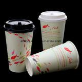 Tazza di carta a parete semplice bevente calda a gettare di marchio su ordinazione per caffè