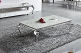 El mármol blanco alternativo de los muebles de la sala de estar y imitó la mesa de centro superior de madera del acero inoxidable