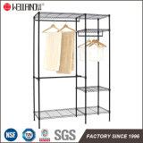 カバーが付いている最高の調節可能なワイヤー戸棚の棚付けの金属の衣服のワードローブラック