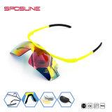 Aleta altamente flexível acima dos óculos de sol Running de escalada de ciclagem polarizados reflexivos da lente permutável Unbreakable dos vidros do olho da segurança de laser