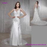 Glänzendes Sleeveless Bördeln und Backless Hochzeits-Kleid mit Schleife-Serie