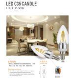 Ouro de C35 E27 2W 4W/luz de bulbo de prata do diodo emissor de luz do filamento