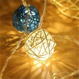 2018 Novo Design colorido bolas de vime String de LED de luz para Decoração de Natal