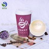 cuvettes de papier de café chaud de mur de l'ondulation 8oz pour la boisson chaude avec le couvercle de café et les pailles de Stirer