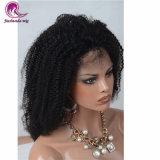 Capelli indiani ricci Volum spesso del Virgin di Afro per la parrucca piena del merletto delle donne