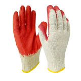 Light Cotton Yarn Knitting Red Latex Coated Smooth Finished Cheap Safety Working Gloves From China