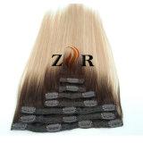 Grampo de cabelo desenhado natural do russo da cor escura no cabelo humano