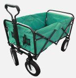 Vagão de serviço público de dobramento dobrável, carro de jardim, ao ar livre, comprando (verde)