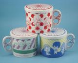 Porcelain su ordinazione White Ceramic Mug con Lid