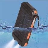 Côté imperméable à l'eau d'énergie solaire du chargeur de batterie rechargeable 10000mAh
