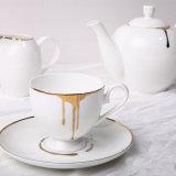 컵 11 피스는 금 정밀한 본 차이나 커피 잔을 추적한다