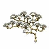 Brooch della perla del Gingko di modo placcato oro di VAGULA