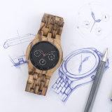 Wochen-Dattel-Stunden-Zeigerbeiläufiger Zebra-hölzerne Mann-Uhr