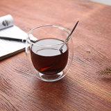 Fabricante de la Copa de doble pared de la Copa redonda taza de café de vidrio