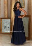 Vestito da sera lungo della damigella d'onore di vittoria del merletto dell'abito di promenade di Tulle del blu marino Mrl156