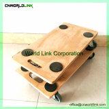 Personalizando a plataforma de forma diferente de madeira que se deslocam a Dolly com pega
