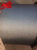 Aviones galvanizados 6X19 cuerda de alambre de acero de la talla de 7/32 pulgada