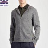 Classic zip jusqu'Hoodies tricot douce 100% cachemire Pouch-Style Cardigan pullover avec poches pour Mens