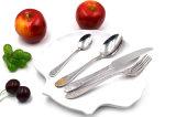 Essgeschirr stellt Metalllöffel ein und gabelt Edelstahl-Tischbesteck