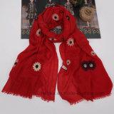 Madame Scarf (HWBC037) de coton de broderie de tournesol de qualité de mode