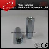 Noix de raccordement Hex galvanisée d'acier du carbone DIN6334