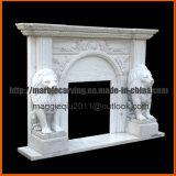 Mensola del camino di marmo bianca del camino con i leoni Mf1715