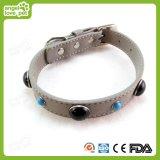 Couro de alta qualidade com joalharia decorativa Samll Collar de cão, produto para animais de estimação