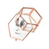 Cassa di vetro dorata popolare di memoria dei monili della Rosa mini (Jb-1078-11)