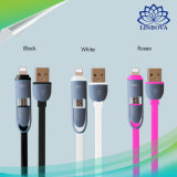 2-em-1 Lightning e Micro USB Cable Premium Sync durável e Fast Charging Cable Cord